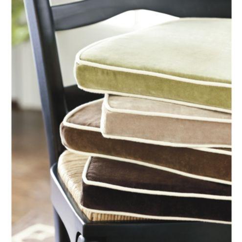 Velvet Chair Cushion With Contrast Piping Ballard Designs