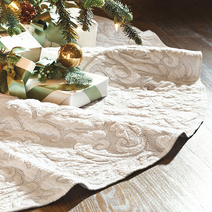 Valerie Quilted Damask Tree Skirt