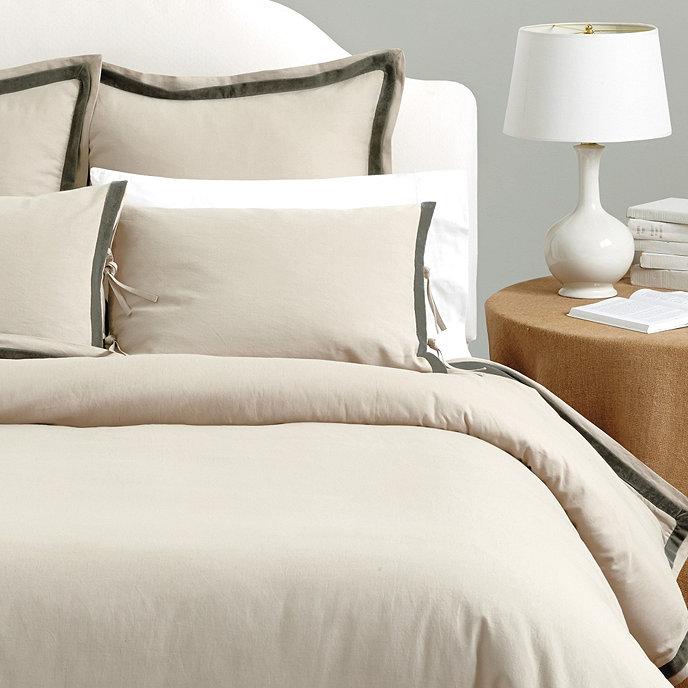 lucca velvet trim duvet cover - Velvet Bedding