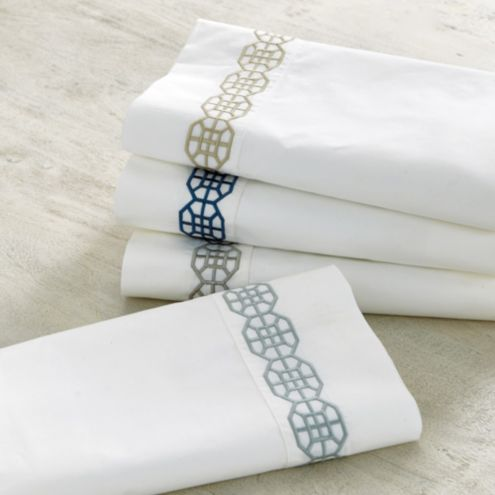 Nottingham Embroidered Percale Sheet Set