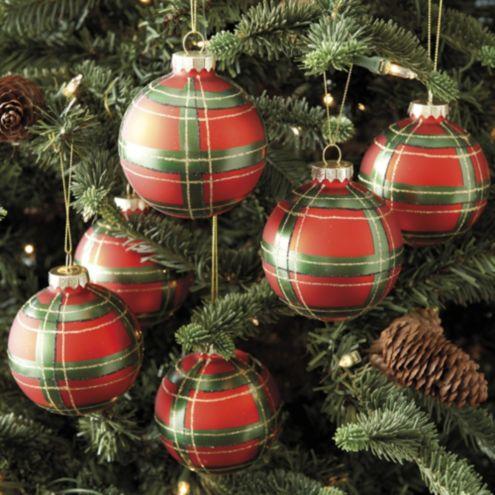 Set Of 6 Plaid Ornaments Ballard Designs