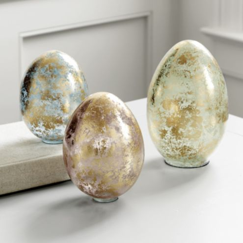 Decorative Glass Eggs - Set of 3