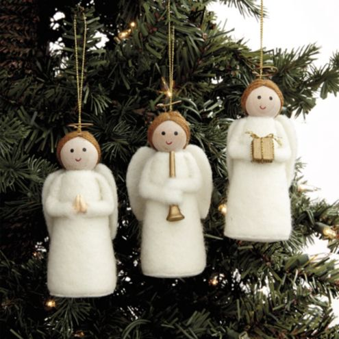 Felt Angel Ornaments - Set of 3