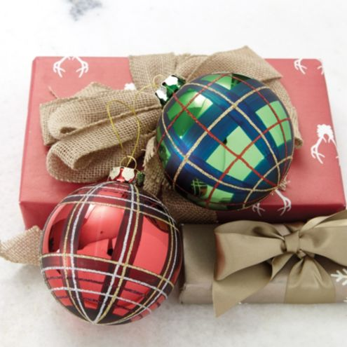 Suzanne Kasler Mackenzie Plaid Ornaments - Set of