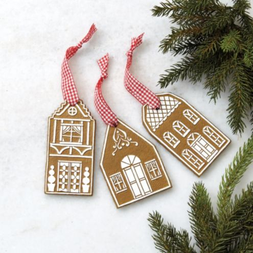 Gingerbread House Ornaments - Set of 3