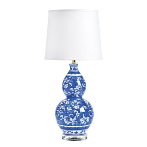 Blue & White Double Gourd Chinoiserie Table Lamp