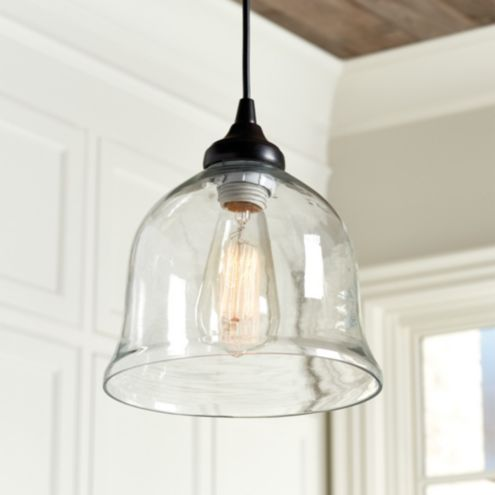 Clear Glass Bell Pendant Shade - Hardwire Pendant