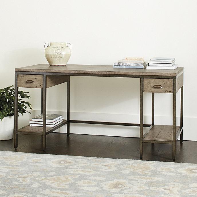 Ballard Design Desk durham large desk with drawers - graywash | ballard designs