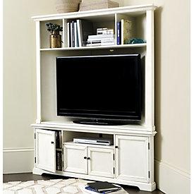 High Quality Reston Corner Media Console With Hutch