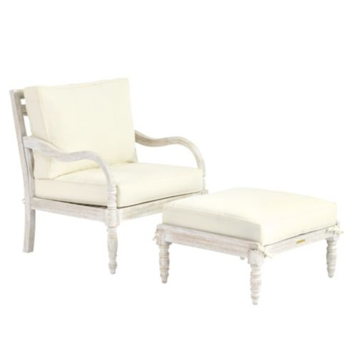 Ceylon Whitewash Lounge Chair & Ottoman