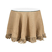 Fringed Burlap Trio With Table, Glass U0026 Tablecloth