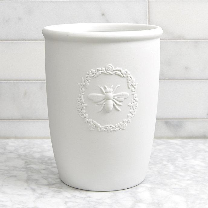 Bee porcelain bath accessories ballard designs for Ceramic bathroom bin