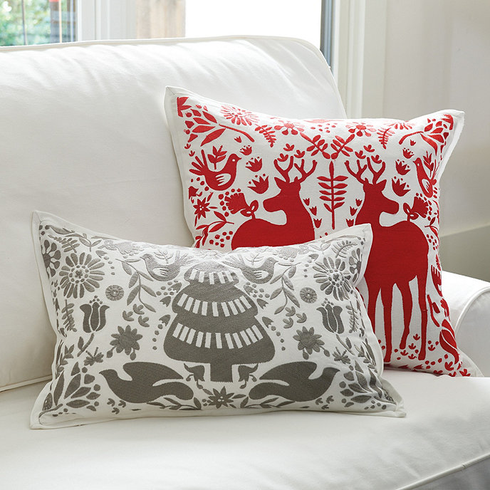 Yuletide Embroidered Pillow Covers