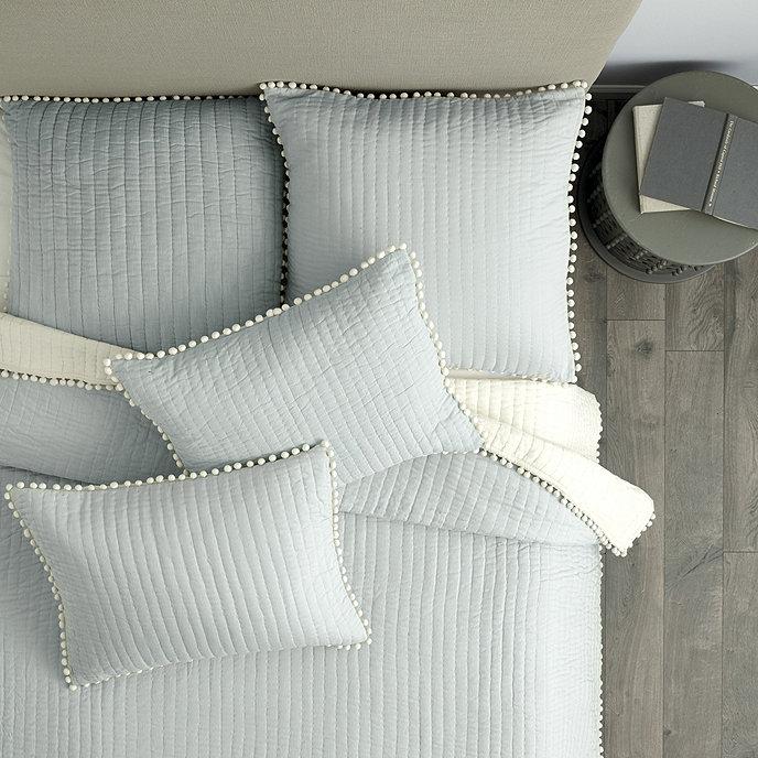 Audree Pom Pom Quilt - Gray | Ballard Designs : beige quilt - Adamdwight.com