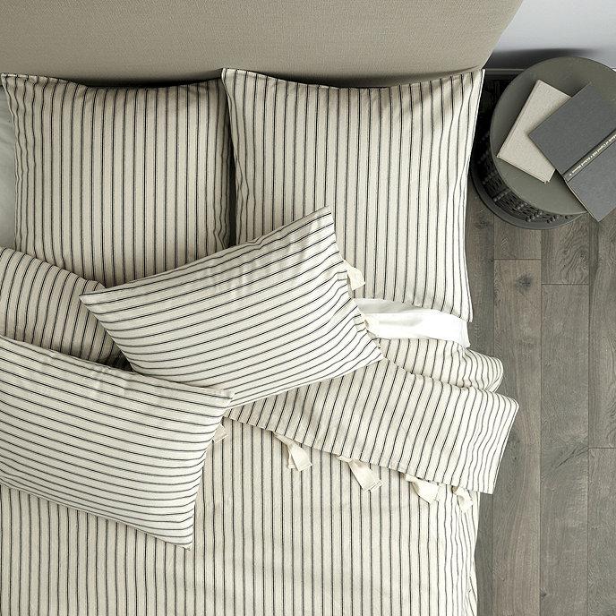 Ticking Stripe Bedskirt Navy Ballard Designs