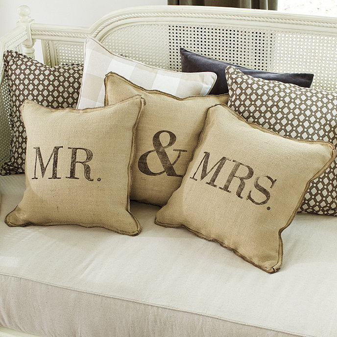 Mr Mrs Burlap Pillow With Insert