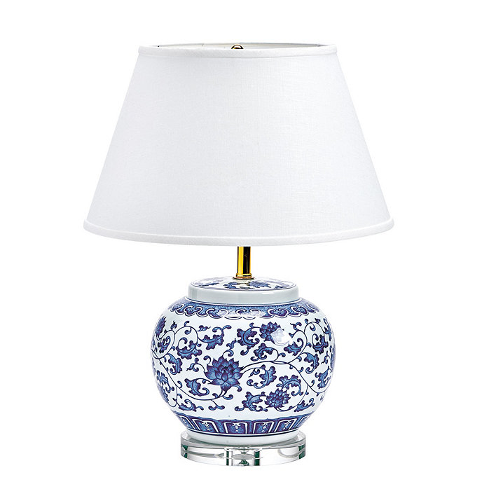 Blue white single round chinoiserie table lamp ballard designs blue white single round chinoiserie table lamp mozeypictures Images