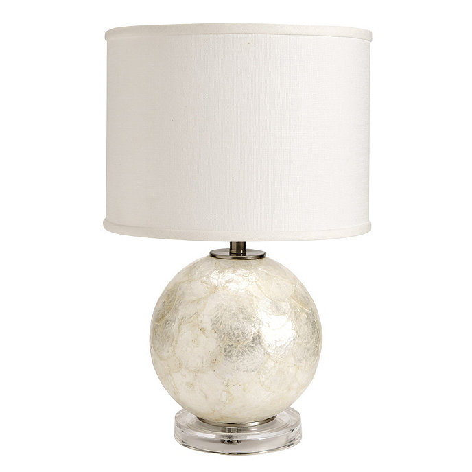 Capiz table lamp ballard designs capiz table lamp with white linen drum shade aloadofball Image collections