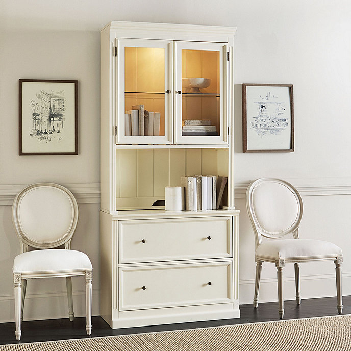 Tuscan File Console and Hutch - Tuscan Hutch With Lateral File Console - Two Adjustable Shelves