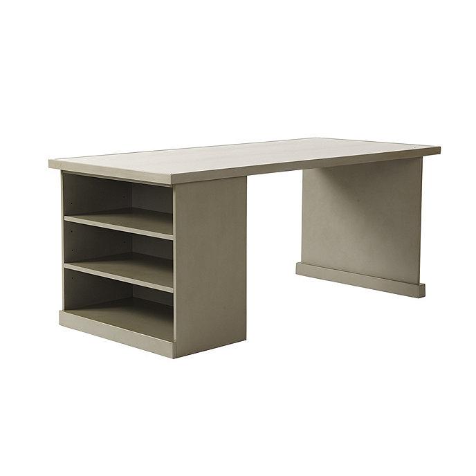 Original Home Office Desk Return With Open Shelf Cabinet Wood Top