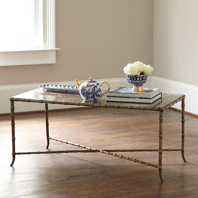 Elsie Coffee Table With Antique Mirror Top Ballard Designs