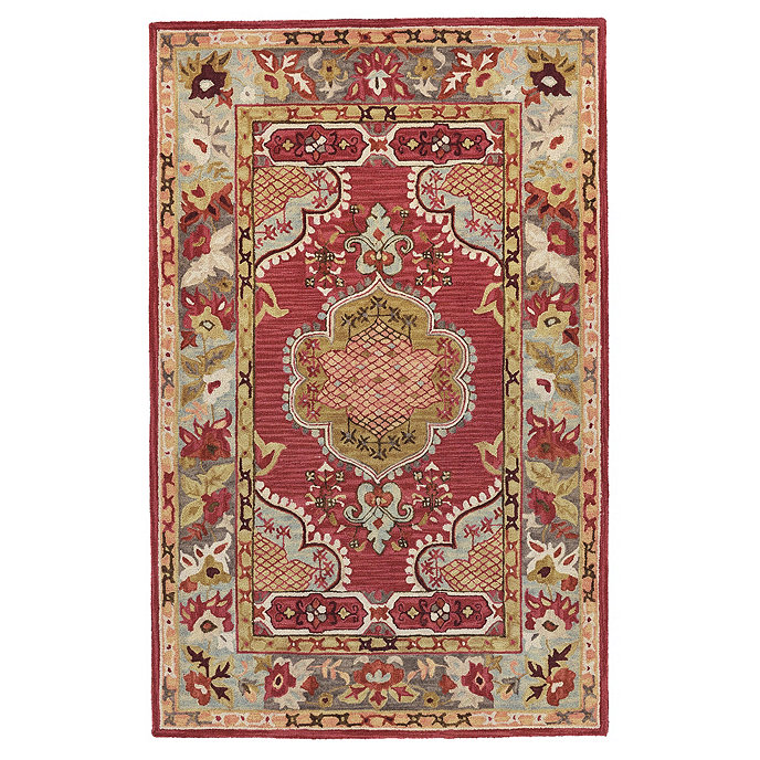 Lewis Hand Hooked Rug Swatch Red