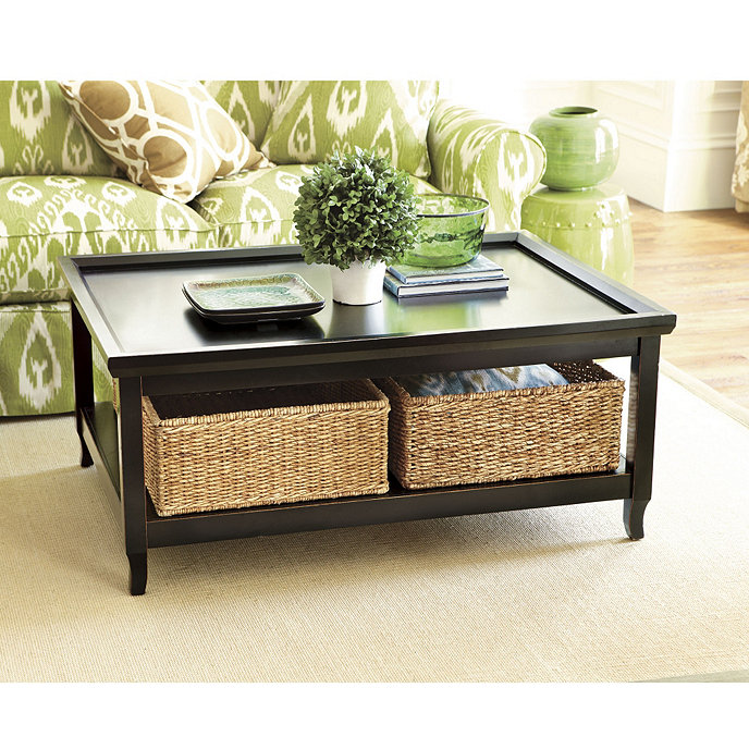 Morgan Coffee Table With Woven Baskets