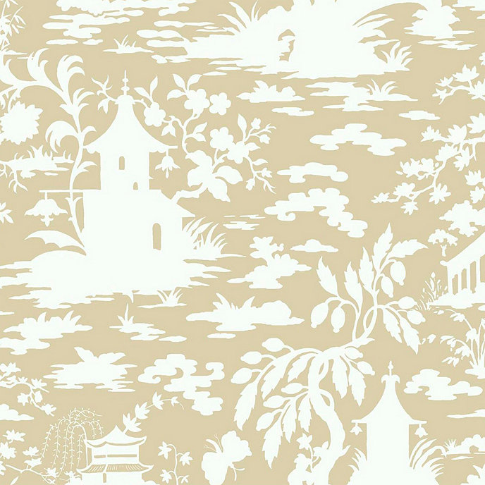Asian Scenic Toile Wallpaper Beige White Double Roll
