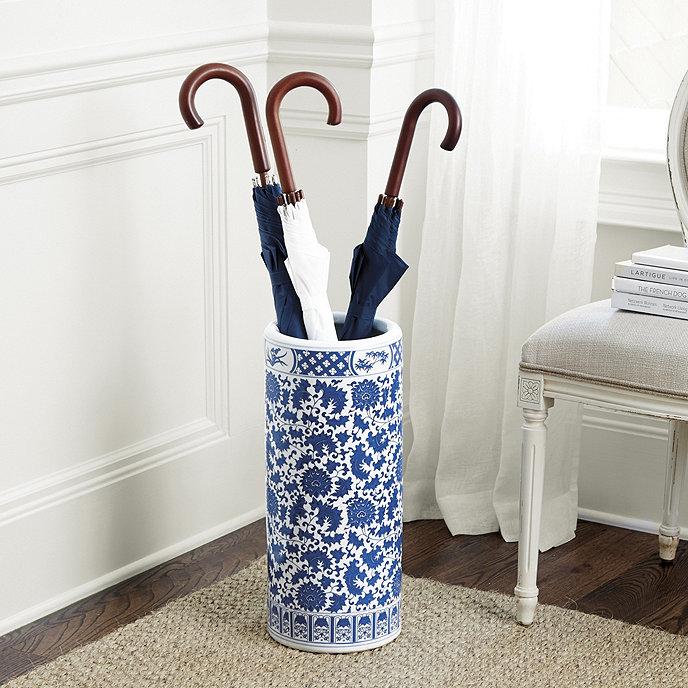Blue & White Porcelain Umbrella Holder | Ballard Designs