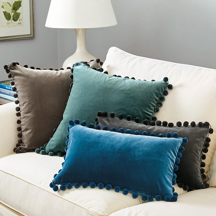 Signature Velvet Pom 20 Square Pillow