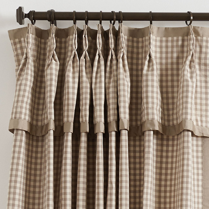 Check drapery panel with valance
