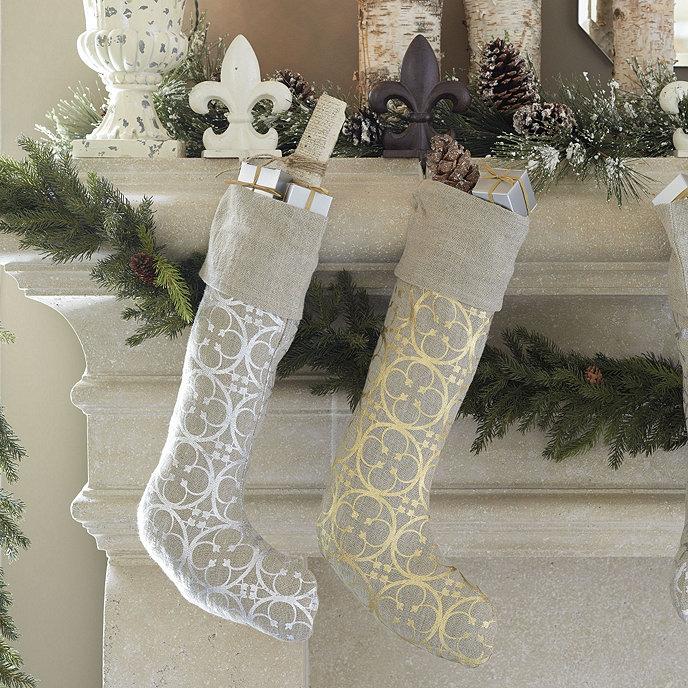 Quatrefoil Linen Stocking Share This Item Customer PhotosBallardDesigns