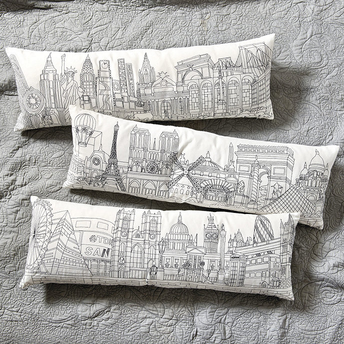 Embroidered City Skyline Pillow