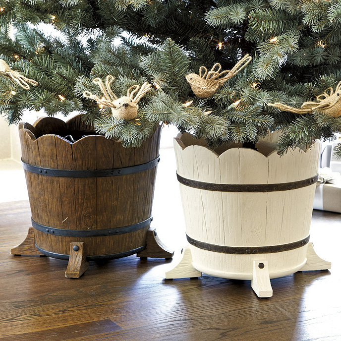 Barrel planter christmas tree stand holiday accessories