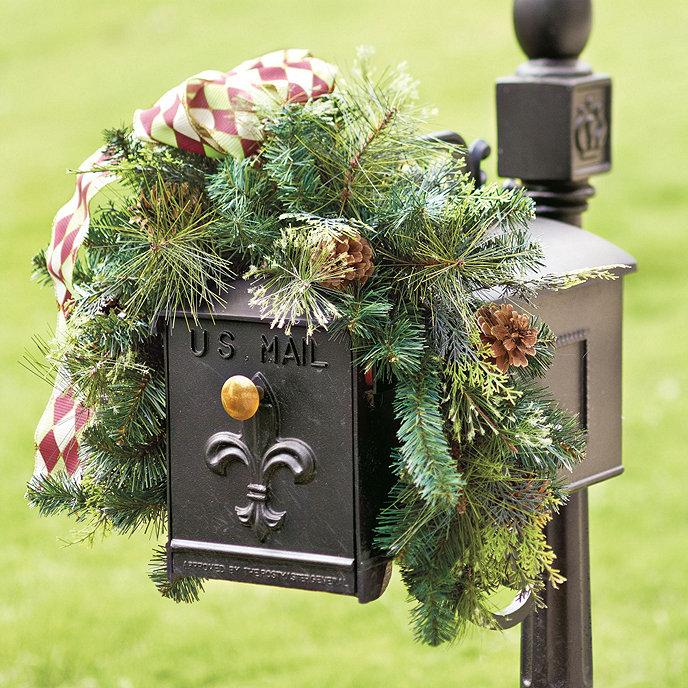 Mixed pine mailbox wreath