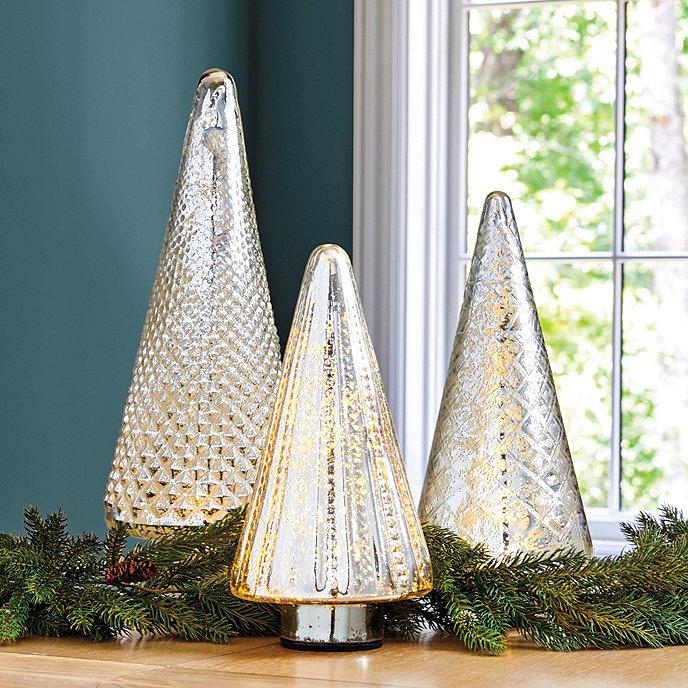 lit mercury glass trees - Mercury Glass Christmas Trees