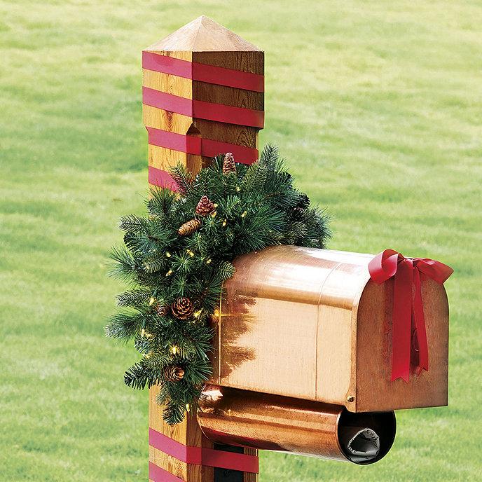 Ballard classic prelit greenery mailbox swag