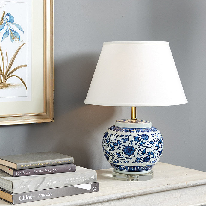 Blue white single round chinoiserie table lamp ballard designs blue white single round chinoiserie table lamp mozeypictures Choice Image