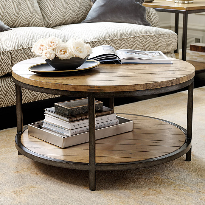 Durham round coffee table ballard designs for Black circle coffee table