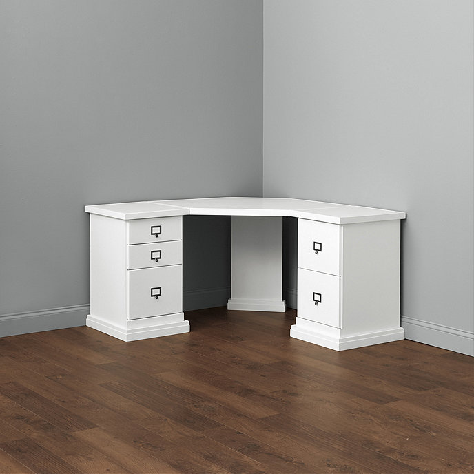 original home office corner desk with two 1 cabinet credenzas with wood top - Home Office Corner Desk