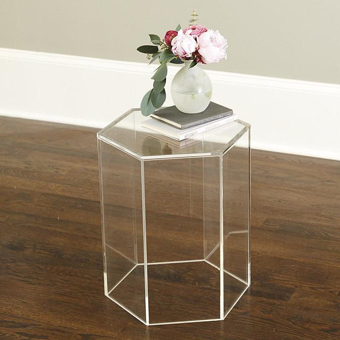 acrylic hexagon side table ballard designs. Black Bedroom Furniture Sets. Home Design Ideas