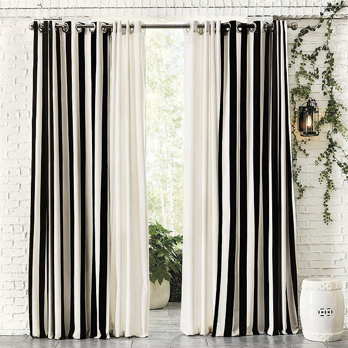 Indoor Outdoor Drapery Panel With Weighted Corners
