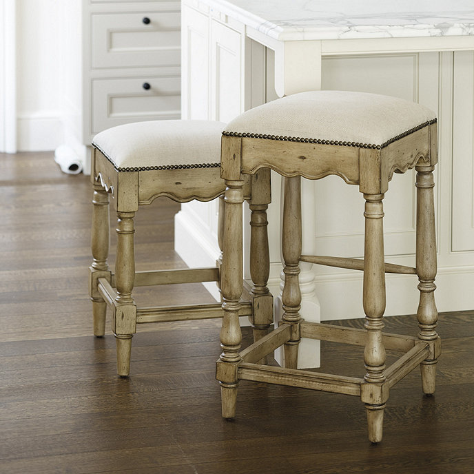 Marlow Barstool Backless Barstool With Leather Seat