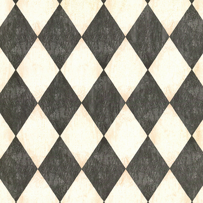 Antiqued Harlequin Wallpaper Black Double Roll