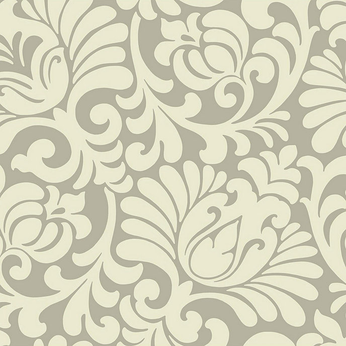 Oversized Tulip Taupe Damask Wallpaper Double Roll
