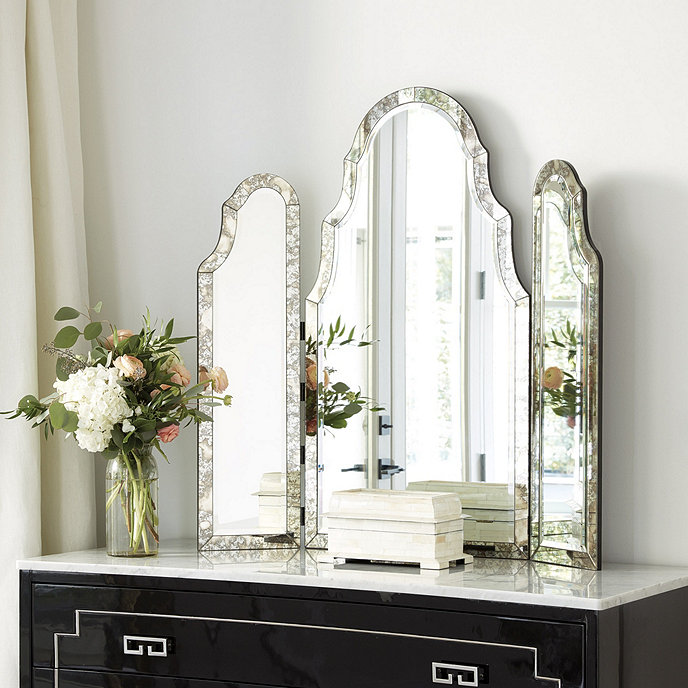 trifold vanity ideas with bedroom for tri white and small set stool mirror fold