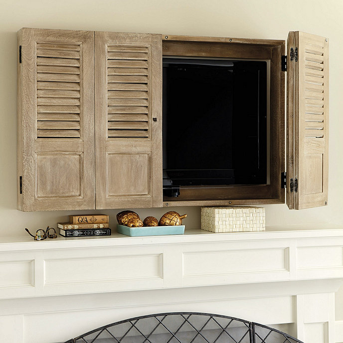 Shutter tv wall cabinet ballard designs - Tv wall cabinets ...