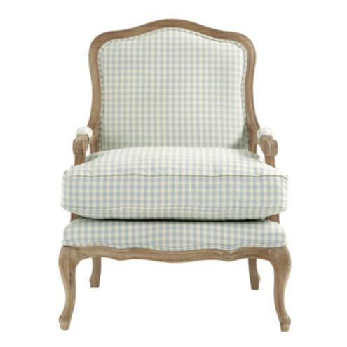 Louisa Bergere Chair in Small Check Spa and