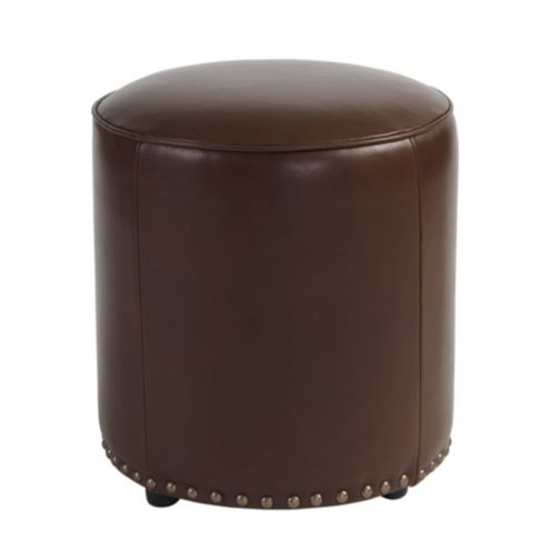 Sawyer Leather Ottoman with Antique Brass Nailheads