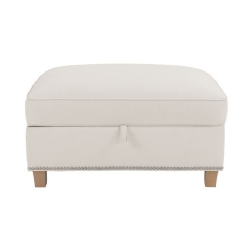 Carlton Storage Ottoman with Pewter Nailheads